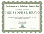 ESA - Environmental Solutions Association Certificate